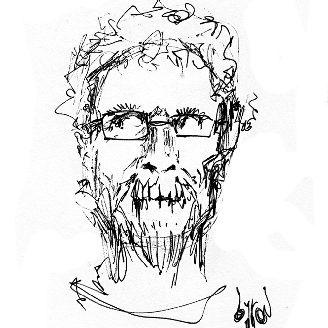 A sketch of Dave Higgins as a bearded zombie in glasses